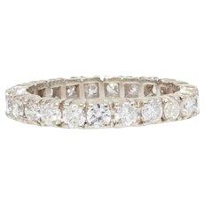 French Modern Diamonds 18 Karat White Gold Band Wedding Ring