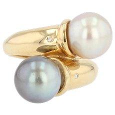 Modern Duo White Pearl Gray Pearl Diamonds 18 Karat Yellow Gold Ring