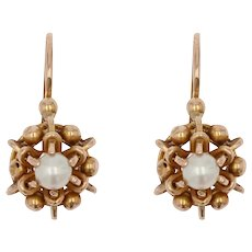 French 20th Century Pearl 18 Karat Rose Gold Lever Back Earrings