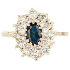 French Modern Sapphire Double Row Diamonds 18 Karat Yellow Gold Ring
