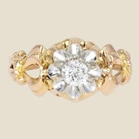 1950s 0,30 Carat Diamond 18 Karat Yellow Gold Solitaire Ring