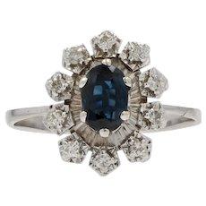 French Retro 1970s Sapphire Diamonds 18 Karat White Gold Ring