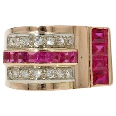 French 1950s Ruby Diamonds 18 Karat Rose Gold Asymmetrical Tank Ring