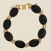 Antique Style Helmeted Warriors Intaglios 14 Karat Yellow Gold Bracelet