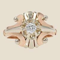 1950s 0,30 Diamond 18 Karat White and Rose Gold Retro Ring