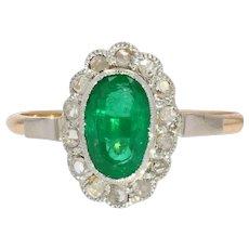 19th Century Emerald Diamonds 18 Karat Rose White Gold Cluster Ring