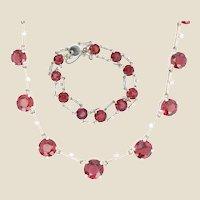 1960s Garnet Diamond 18 Karat White Gold Necklace Bracelet Set