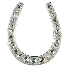 French Art Deco Diamond 18 Karats Yellow Gold and Platinum Horseshoe Brooch