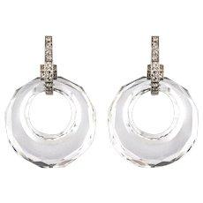 1930s Art Deco Rock Crystal Diamonds 18 Karat White Gold Dangle Earrings