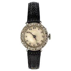 1930s French Diamond Platinum Mechanical Ladies Watch