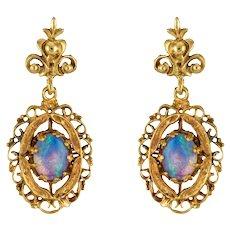 1960s Yellow Gold Opal Dangling Earrings