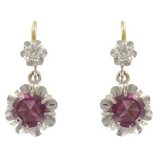 19th Century French Garnet Diamond 18 Karats White and Yellow Gold Dangle Earrings