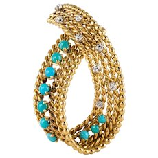 Antique diamond and turquoise brooch 18 Karats Yellow Gold