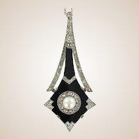 French Art Deco Natural Pearl Onyx Diamond Platinum Pendant