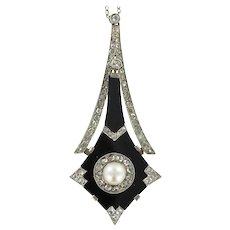 French Art Deco Natural Pearl Onyx Diamond Platinum Pendant