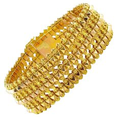 French 1900s Flexible 18 Karats Yellow and Rose Gold Bracelet