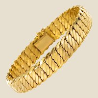French Modern 18 Karat Yellow Gold Flat Curb Bracelet