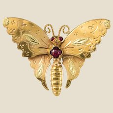 20th Century 18 Karat Yellow Gold and Green Gold Butterfly Brooch