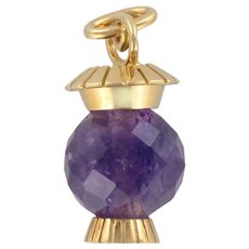 French 1960s Faceted Amethyst 18 Karats Yellow Gold Lantern Pendant Charm