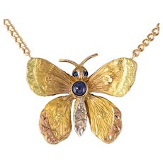20th Century Sapphire Diamond 18 Karat Rose Gold Butterfly Necklace