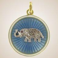 1900s French Diamond and Enamel Elephant Medallion 18 Karats Yellow Gold