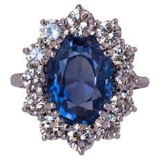 French 1960s No Heat 7.42 Carat Ceylon Sapphire Diamond White Gold Cluster Ring
