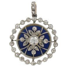 French Diamond Blue Enamel Medallion Locket Pendant 18 K
