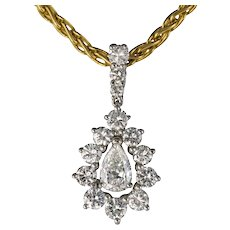 1970s 1.65 Carat Diamond White Gold Pendant Yellow Gold Chain Necklace
