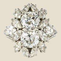 1950s French Cartier 7 Carat Diamond Platinium Ring