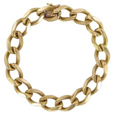 French 1960s Massive Chiseled 18 Karat Yellow Gold Chain Bracelet