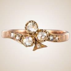 French Napoleon III Diamonds 18 Karat Rose Gold Clover Shape Ring