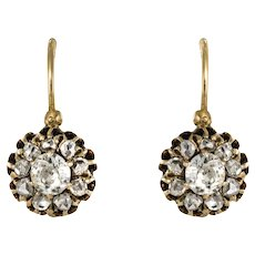 19th Century Diamond Rose Gold Sleepers Earrings
