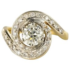 1920s Belle Époque Diamond 18 Karat Yellow Gold Swirl Ring