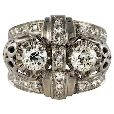 French 1930s Platinum 1.25 Carat Diamonds Art Deco Ring