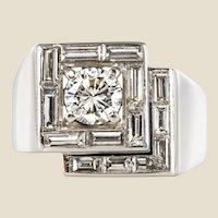 1930s French Art Deco Diamonds Platinum Asymmetrical Ring