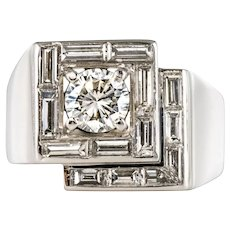 1930s French Art Deco Diamonds Platinum Asymmetrical Ring