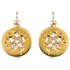 French 1900s Rose-Cut Diamonds 18 Karat Yellow Gold Drop Earrings