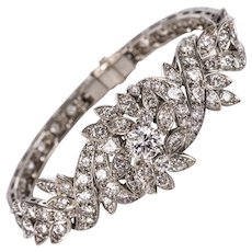 French 1960s 4.40 Carat Diamonds 18 Karat White Gold Bracelet