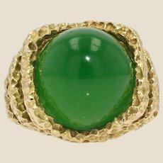 Retro 18 Carat Chrysoprase Chiseled 18 Karat Yellow Gold Ring