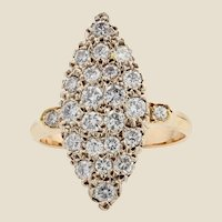 1960s 0.70 Carat Diamonds 18 Karat Yellow Gold Shuttle Shape Retro Ring