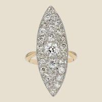 20th Century Diamond 18 Karat Yellow Gold Shuttle Ring