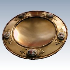 Antique Bronze Bowl Micro Mosaic Five Panels of Flowers Italy