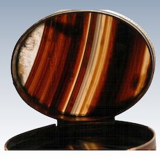 Snuff Box Scottish Banded Agate 19th Century Accessories Pocket Box for Snuff