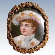Antique Porcelain Portrait Boy Frame Hand Painted Royalty