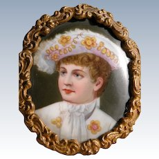Hand Painted Antique Porcelain Portrait Young Boy of Royalty in Frame
