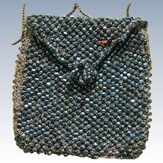 Doll Purse Vintage Beaded Blue Glass Coin Purse