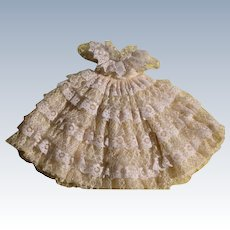 Lace Doll Dress Vintage Three Piece with Bow Frilly Doll Dress