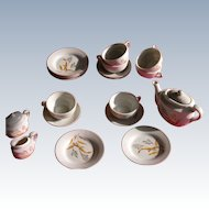Doll Tea Set of Porcelain Dishes Bird of Paradise Pattern from Japan