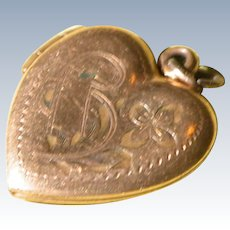 Heart Locket Pendant with Date To Arlene 1951 Gold Filled