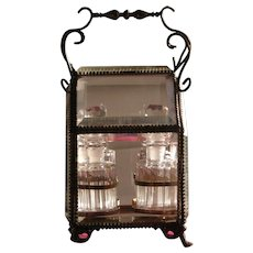 French Perfume Bottle Set Four Bottles in Beveled Glass Box